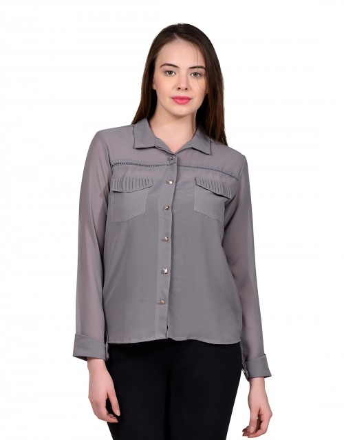 Versatile Shirt Top-Grey