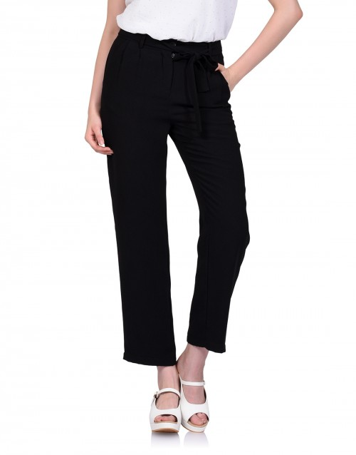 Slim Flare Pants-Black