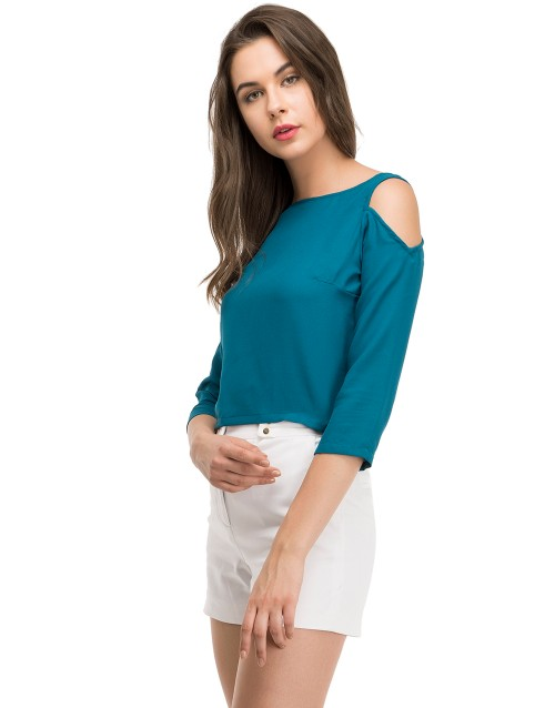 Chicwish Grace Off Top-Teal