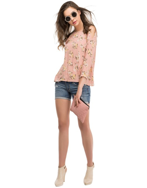 Floral Cut Out Shoulder Top