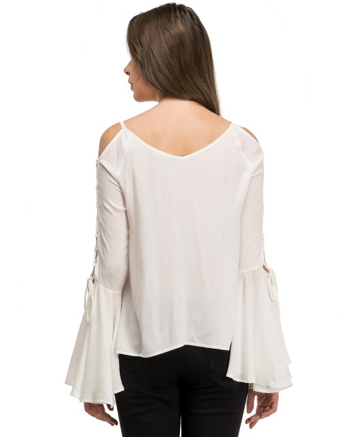 Tie Twist Cut-out Top-White