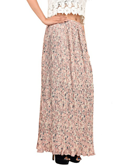 Retro Style Pleated Skirt-Peach