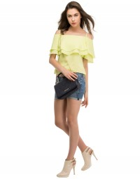 Crystal Ruffle Cold Shoulder Top-Lime